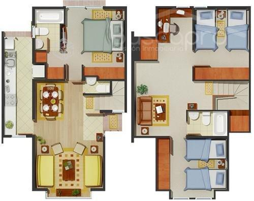 Excelente casa 3D 2B sala de estar, Portal San Pedro